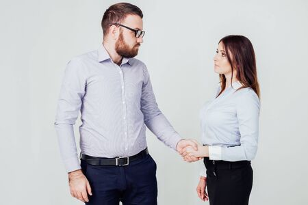 business man and woman in the Office work partners