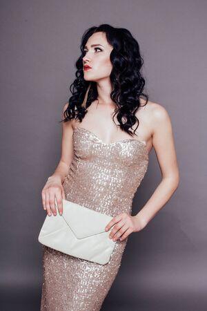 beautiful stylish girl cocktail dress handbag style