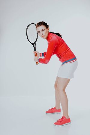 girl playing in the tennis racket sports Stock Photo - 135482359