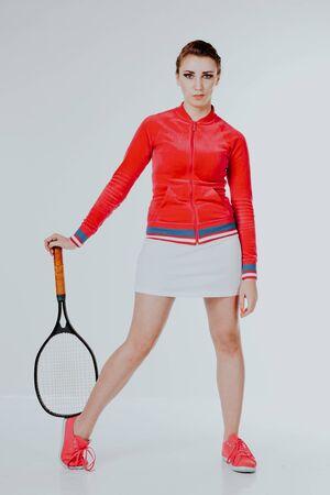 girl playing in the tennis racket sports Foto de archivo - 135400069