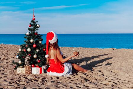 new year 2018 Christmas tree Beach Resort Sea girl