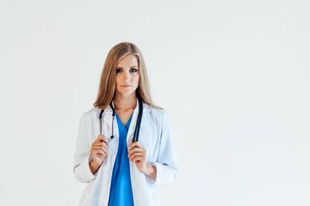 female doctor with stethoscope in hospital nurse Stockfoto