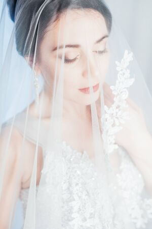 brunette woman in gray wedding gown white 版權商用圖片