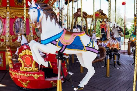 Kid attractions colorful carousel horse fun 1