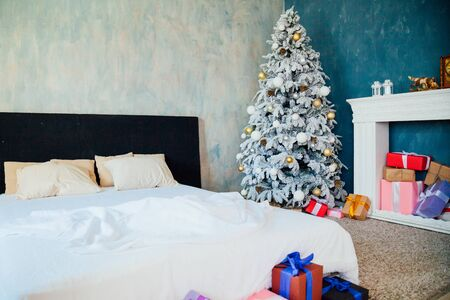 new interior bedrooms with White Christmas tree 1