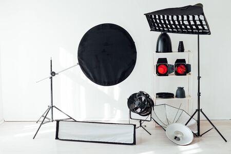 Photo studio equipment accessories photographer flashes 免版税图像