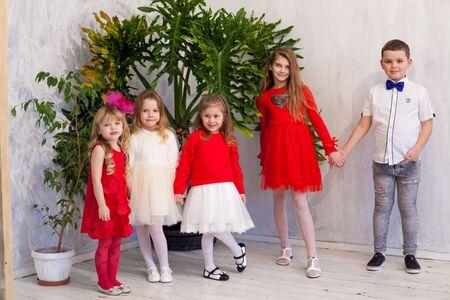 Boy with girls on holiday friends birthday