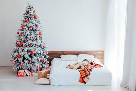 bedroom Christmas presents new year holidays Christmas tree