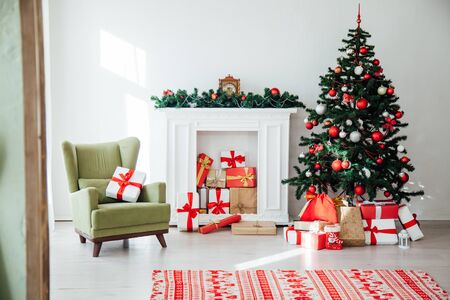 Christmas home interior Christmas tree red gifts new year decor festive background