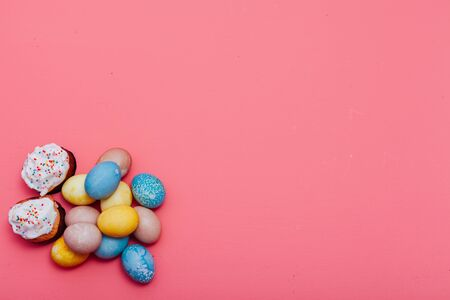 multi-colored eggs on the Easter holiday background for inscriptions