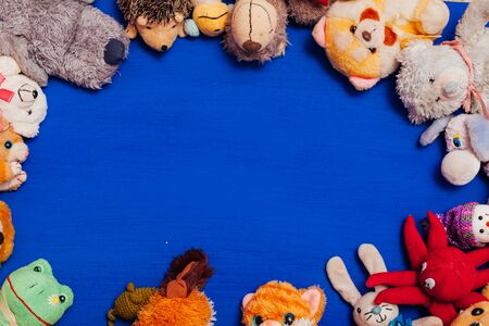 childrens soft toys for developing baby games on a blue background Banque d'images