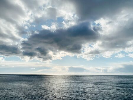 beautiful landscape of the sea horizon and sky with clouds
