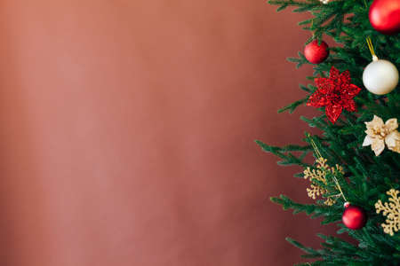 Christmas banner with Christmas tree. Christmas concept with copy space, place for text