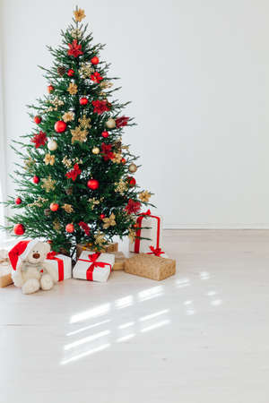 Christmas tree pine with gifts for the new year interior postcard banner