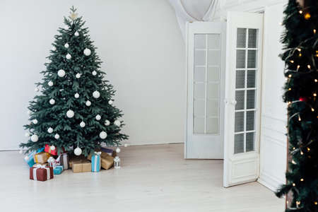 Christmas tree pine with gifts interior decor new year winter holiday