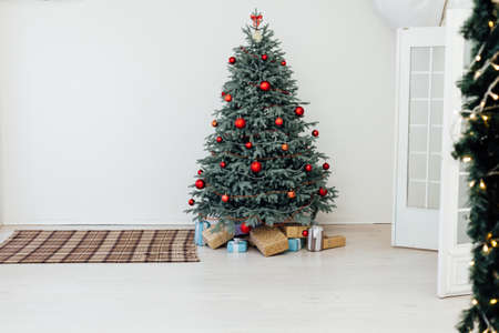 Christmas tree blue pine with gifts interior new year