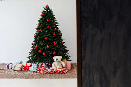 Christmas decor home Christmas tree with gifts for the new year