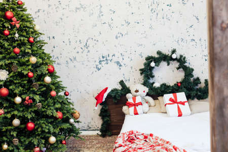 Christmas bedroom Christmas tree decor with new year night bed gifts
