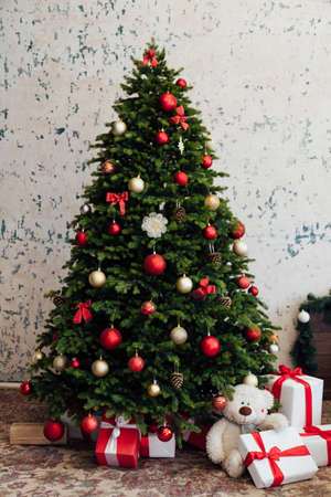 Christmas tree with gifts new year pine decor
