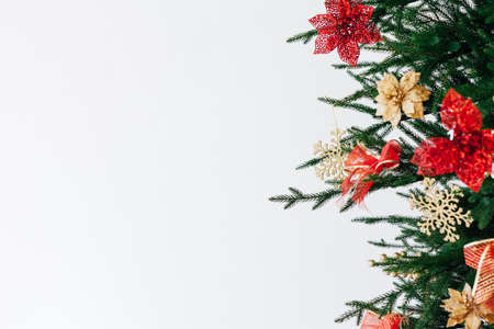 New Years background Christmas tree decor is the place to sign a postcard Stock Photo