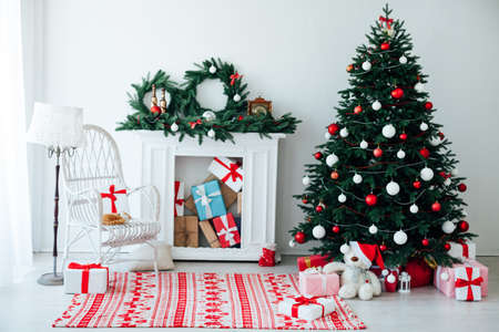 Christmas tree with fireplace interior decor house new year