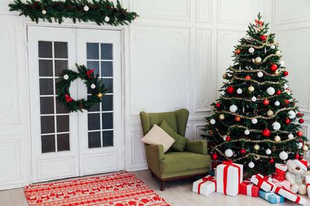 Christmas interior door Christmas tree holiday decor presents new year