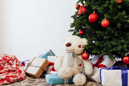 Christmas tree new year decor presents white background place for inscription