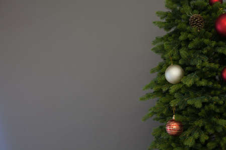 Christmas tree new year decor gray background place for inscription