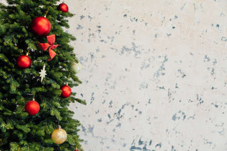 Christmas tree tree twigs pine new year place for inscription on the background