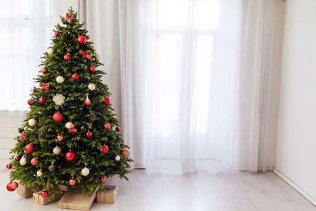 Window decor new year presents Christmas tree interior holiday