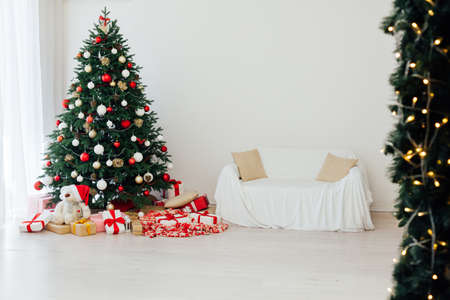 New Years Eve Christmas interior home decor red Christmas tree pine gifts