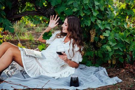 Woman works on laptop online at picnic in grape garden 免版税图像
