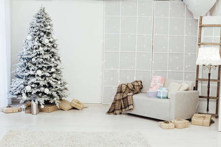room decorated for the Christmas holidays new year tree gifts