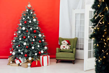 New Years Interior Christmas Tree with home gifts