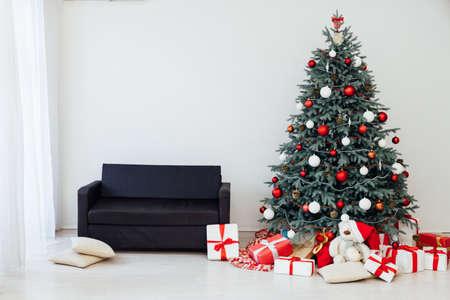 New Years Interior Home Christmas Tree Decor Gifts Stock Photo