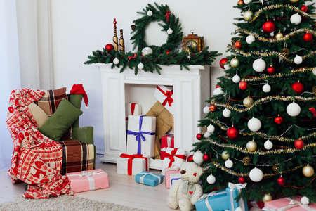 New Years holiday interior Christmas tree decor presents December