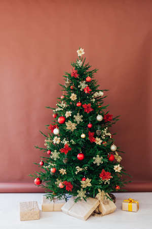 Christmas tree holiday with interior decor gifts for new year background
