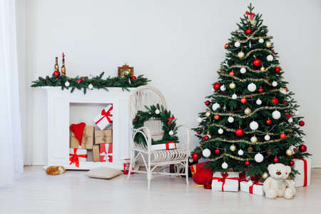 Christmas interior white Christmas room Christmas tree with gifts new year decor December