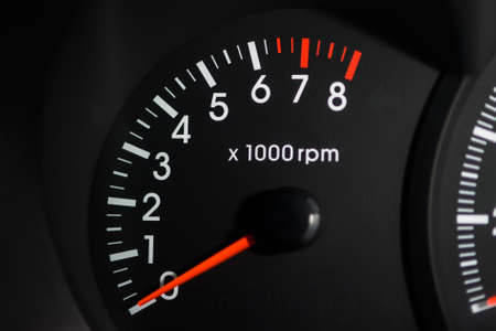 Close-up shot of the tachometer in the car. Car dashboard Archivio Fotografico