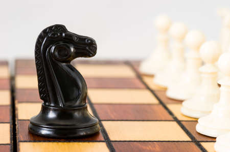 Chess piece of a black horse in the middle of the playing Board against a row of white pieces, close-up, light background, confrontation. Stock Photo