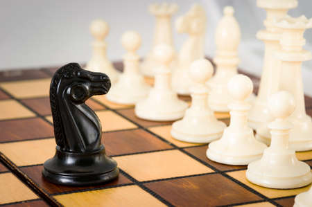 Chess piece of a black horse in the middle of the playing Board against a row of white pieces, close-up, light background, confrontation. Archivio Fotografico