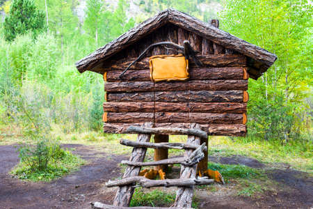 A hut standing on chicken legs in the Park (the wooden log house of the fabulous grandmother Yaga)