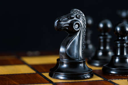 Chess with a black knight in an open area. Black background. High quality photo