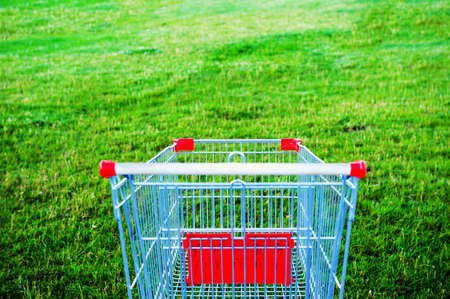 Red shopping cart, first-person front view, in a grassy green field. Vegetarianism. High quality photo