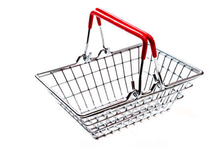 Shopping basket, metal, isolated on a white background.