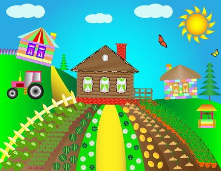 Rural landscape with village houses. Children's colorful houses and sky blue sky. Foto de archivo - 112919011