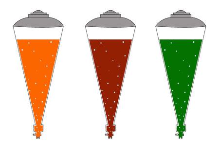 Lemonade in retro cones, carbonated water, orange, Cola and tarragon