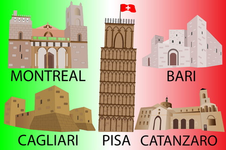 Flag of Italy with architectural monuments. Insulated objects of historic buildings Illustration