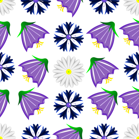 Pattern from blue, violet, orange colors on a white background