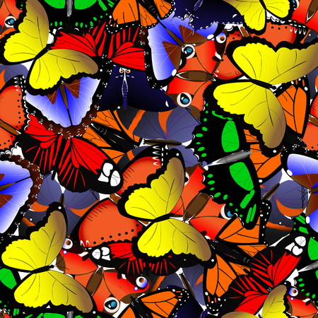 Seamless pattern from butterflies for textiles Illustration